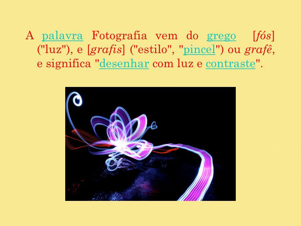 A palavra Fotografia vem do grego [fós] ( luz ), e [grafis] ( estilo , pincel ) ou grafê, e significa desenhar com luz e contraste .